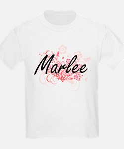 Marlee Artistic Name Design with Flowers T-Shirt