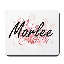Marlee Artistic Name Design with Flowers Mousepad