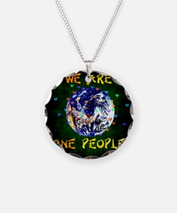 We Are One People Necklace Circle Charm
