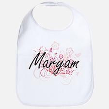 Maryam Artistic Name Design with Flowers Bib