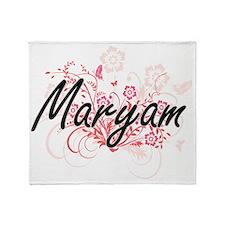 Maryam Artistic Name Design with Flo Throw Blanket