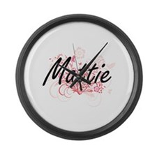 Mattie Artistic Name Design with Large Wall Clock