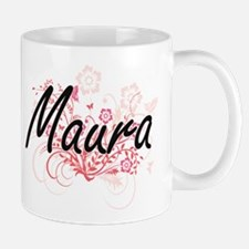Maura Artistic Name Design with Flowers Mugs