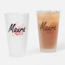 Maura Artistic Name Design with Flo Drinking Glass