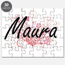 Maura Artistic Name Design with Flowers Puzzle