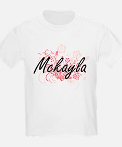 Mckayla Artistic Name Design with Flowers T-Shirt