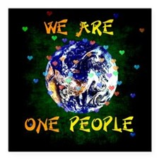 """We Are One People Square Car Magnet 3"""" x 3"""""""