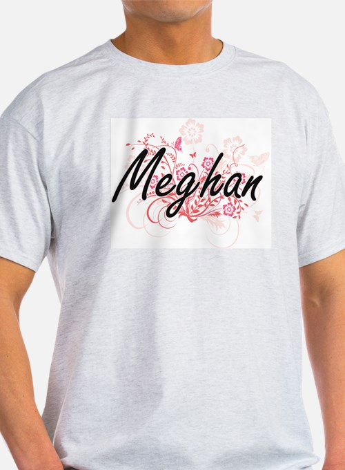 Meghan Artistic Name Design with Flowers T-Shirt