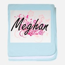 Meghan Artistic Name Design with Flow baby blanket