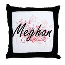 Meghan Artistic Name Design with Flow Throw Pillow