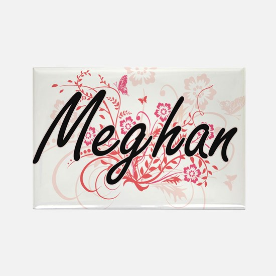 Meghan Artistic Name Design with Flowers Magnets
