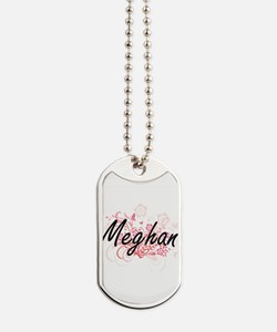 Meghan Artistic Name Design with Flowers Dog Tags