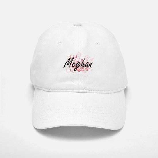 Meghan Artistic Name Design with Flowers Baseball Baseball Cap