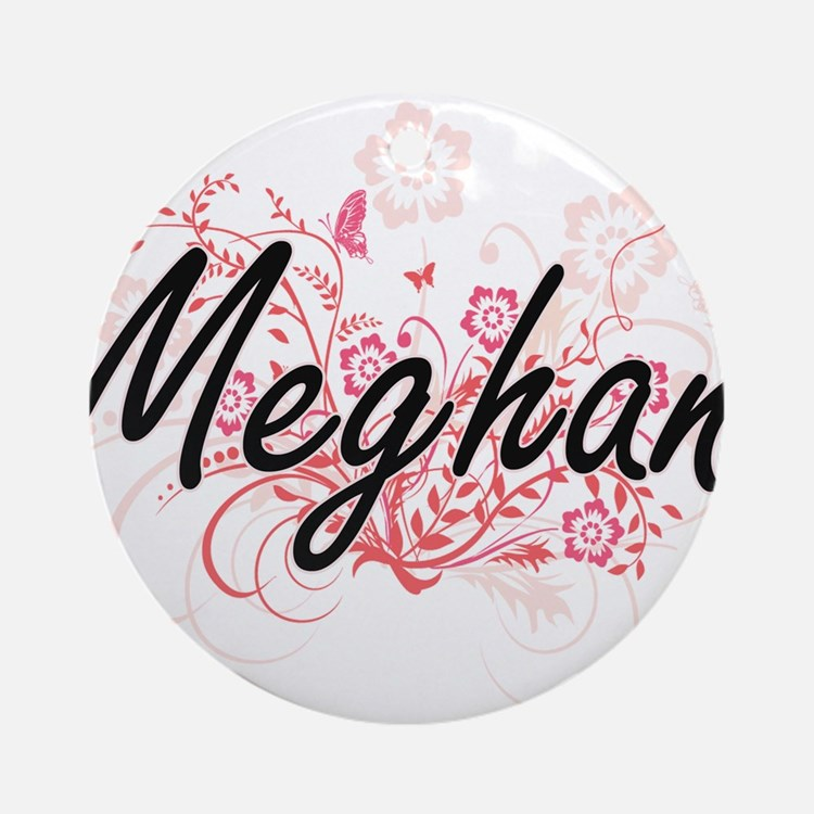 Meghan Artistic Name Design with Fl Round Ornament