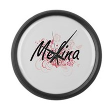Melina Artistic Name Design with Large Wall Clock