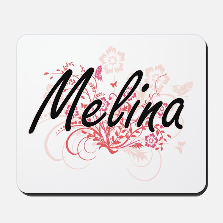 Melina Artistic Name Design with Flowers Mousepad