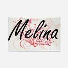 Melina Artistic Name Design with Flowers Magnets