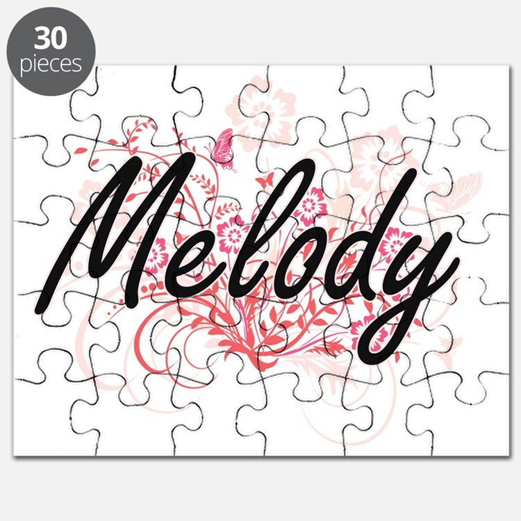 Melody Artistic Name Design with Flowers Puzzle