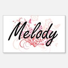 Melody Artistic Name Design with Flowers Decal