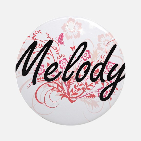 Melody Artistic Name Design with Fl Round Ornament