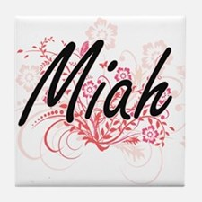 Miah Artistic Name Design with Flower Tile Coaster