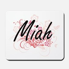 Miah Artistic Name Design with Flowers Mousepad