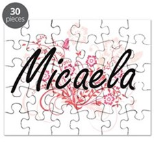 Micaela Artistic Name Design with Flowers Puzzle