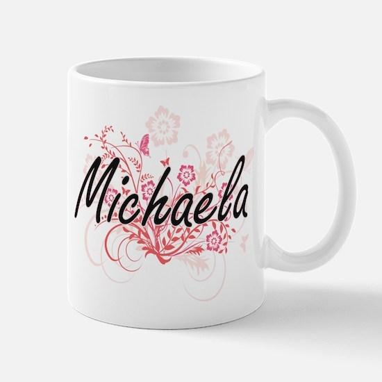 Michaela Artistic Name Design with Flowers Mugs