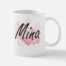 Mina Artistic Name Design with Flowers Mugs