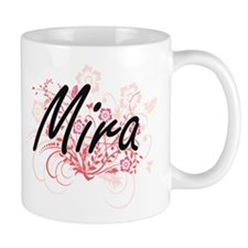 Mira Artistic Name Design with Flowers Mugs