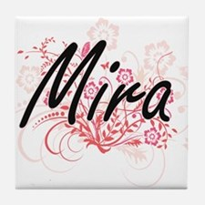 Mira Artistic Name Design with Flower Tile Coaster