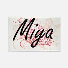 Miya Artistic Name Design with Flowers Magnets