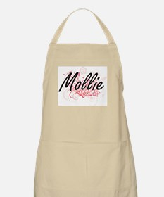 Mollie Artistic Name Design with Flowers Apron