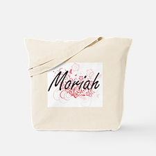 Moriah Artistic Name Design with Flowers Tote Bag