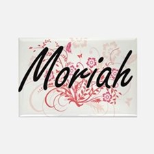 Moriah Artistic Name Design with Flowers Magnets