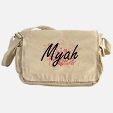 Myah Artistic Name Design with Flowe Messenger Bag