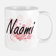 Naomi Artistic Name Design with Flowers Mugs