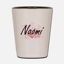 Naomi Artistic Name Design with Flowers Shot Glass