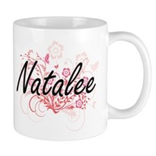 Natalee Artistic Name Design with Flowers Mugs