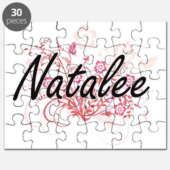 Natalee Artistic Name Design with Flowers Puzzle