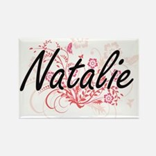 Natalie Artistic Name Design with Flowers Magnets