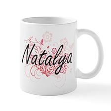 Natalya Artistic Name Design with Flowers Mugs