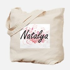 Natalya Artistic Name Design with Flowers Tote Bag