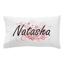 Natasha Artistic Name Design with Flow Pillow Case