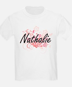 Nathalie Artistic Name Design with Flowers T-Shirt