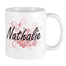 Nathalie Artistic Name Design with Flowers Mugs