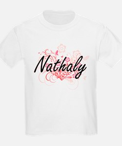 Nathaly Artistic Name Design with Flowers T-Shirt