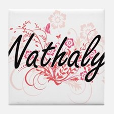 Nathaly Artistic Name Design with Flo Tile Coaster