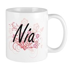 Nia Artistic Name Design with Flowers Mugs