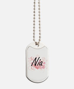 Nia Artistic Name Design with Flowers Dog Tags